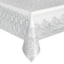 Unique Party  5075  - White Lace Plastic Tablecloth, 9ft x 4.5ft