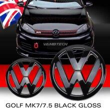 MODIFIX   VW GOLF MK7 BLACK GLOSS FRONT REAR BADGE EMBLEM VW GOLF 7 R LINE GTI