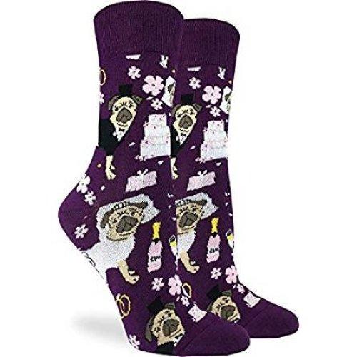 Socks - Good Luck Sock - Women's Crew Socks - Wedding Pugs (5-9) 3233
