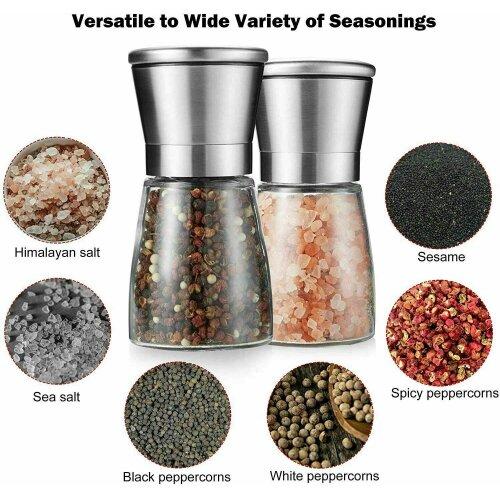 Salt & Pepper Glass Mill Coarse Grinder Set Shaker