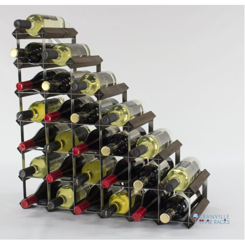 Classic understairs dark oak stained wood and galvanised metal wine rack ready assembled