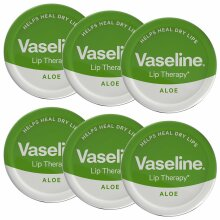 Vaseline Lip Therapy Petroleum Jelly, Aloe 20g - 6 Pack