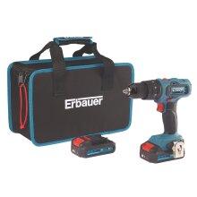 Erbauer Cordless Combi Drill Brushed EBCD18Li-2 18V 2 x 2.0Ah Li-lon And Charger - Refurbished