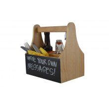 Naturals 4 Compartments Caddy With Chalkboard With Handle