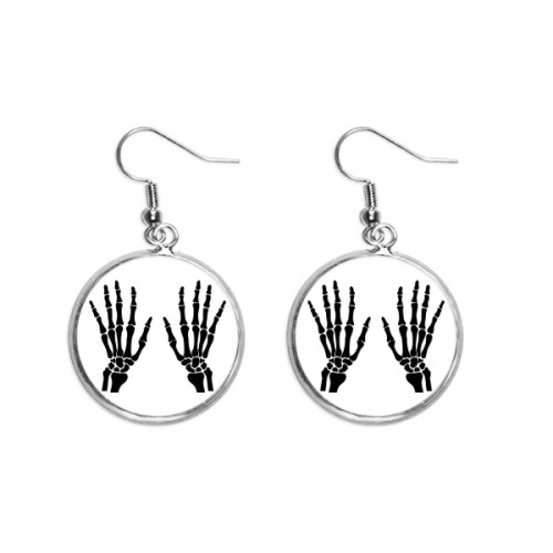 Skeleton Bone Human Hand Black Pattern Ear Dangle Silver Drop Earring Jewelry Woman