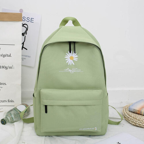 HanFei New Solid Backpack Girl School Bags For Teenage College Wind Women School Bag Nylon Daisy Printing High Student Bag Black