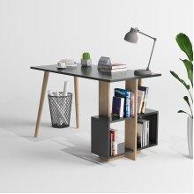 P&W Desk|Home Office Computer Desk with Shelves, Dark Grey,120x60x73cm