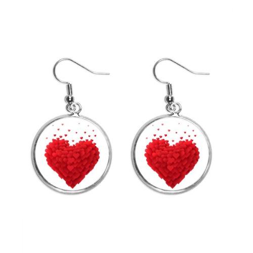 Shaped Red Hearts Valentine's Day Ear Dangle Silver Drop Earring Jewelry Woman