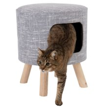 Modern Cat Stool Den Hideaway Removable Cushion