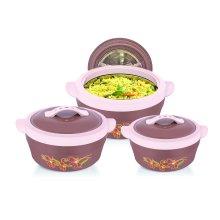 Delcasa 3pc Hot Pot Insulated Food Warmer with Lids,2.5L 1.6L & 1.2L