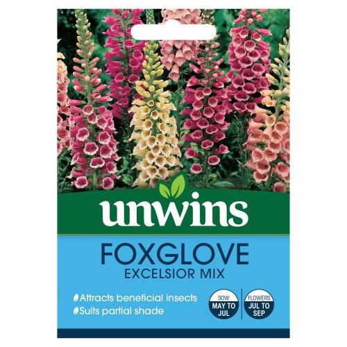 Unwins Grow Your Own Foxglove Excelisor Mix Attractive Flower Seeds