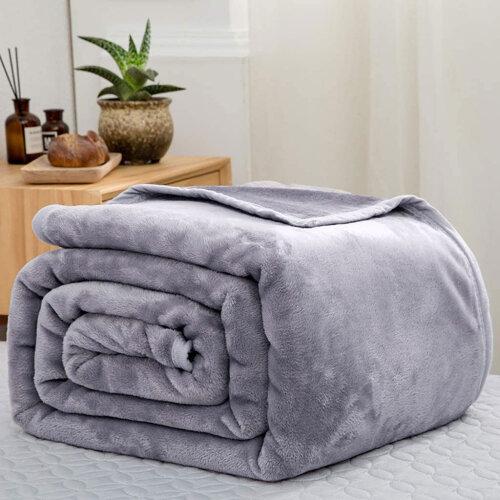 (King) Heavy large Silver Luxury Mink Blanket UK Size