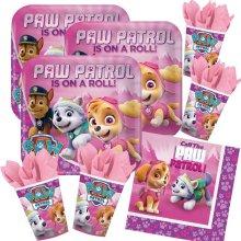 PAW PATROL 52 piece party set Pink - Platter cups Serviettes for 16 children (16 plates 16 cups 20 napkins)