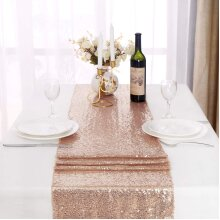 Sequin Table Runner Rose Gold, 12 X 108 inches