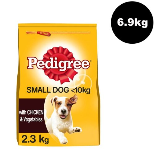 Pedigree Small Dog Dry Dog Food With Chicken and Vegetables - 3 x 2.3kg Bags