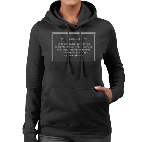 (Medium, Black) Religious Quotes Do Not Fear Isaiah 41 10 Women's Hooded Sweatshirt