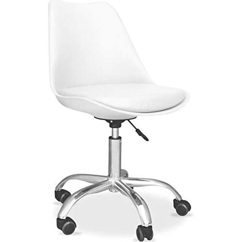White Cushioned Computer PC Desk Office Chair Adjustable Lift Swivel padded seat chrome legs white tulip office chairs