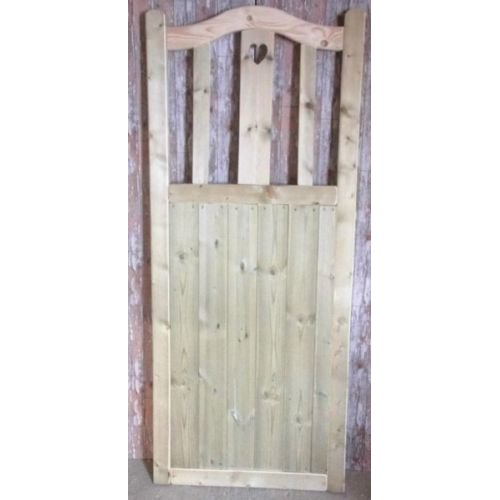 Wooden Garden Gate, Curved Heart, 6ft High - UP TO 8 WEEK WAIT