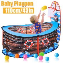 (110x50cm/43.3x19.7in) Pirate Ship Kids Play Tent Ball Pit Basketball Hoop