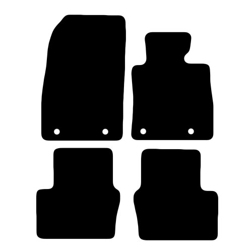 Carsio Tailored Black Carpet Car Mats for Maz-da 2 2015 Onwards - 4 Piece Set with 4 Clips