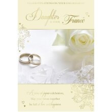 Daughter & Fiance Congratulations On Your Engagement Ring & Rose Design Card