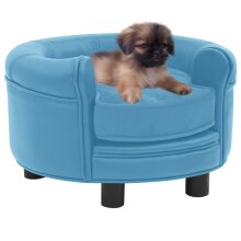 vidaXL Dog Sofa Turquoise Plush and Faux Leather Pet Cat Couch Dog Bed Supply