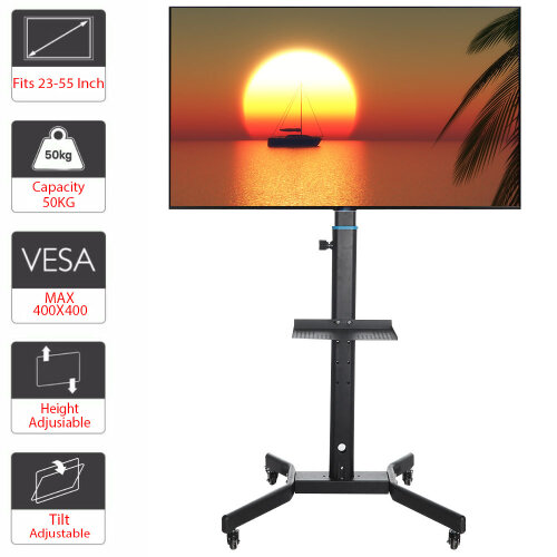 """Mobile TV Cart Floor Stand Mount Display Trolley for 23""""-55"""" /LCD/LED"""