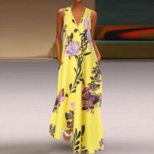 (Yellow, XXXL) *Tight Inventory* Women V-Neck Boho Dress Ladies Summer Floral Beach Party Long Sundress Size 8-22