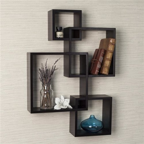 Decorative Intersecting Cubes Shelf - Espresso