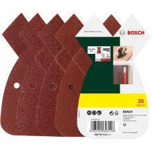 Bosch Home and Garden 2607017113 25-Piece Sanding Sheet Set for Multi-Sanders, grit 80, 120, 180, Red