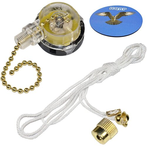 HQRP Switch 3-Speed Pull Chain Control Ceiling Fan Works with Harbor Breeze Ceiling Fan + Coaster
