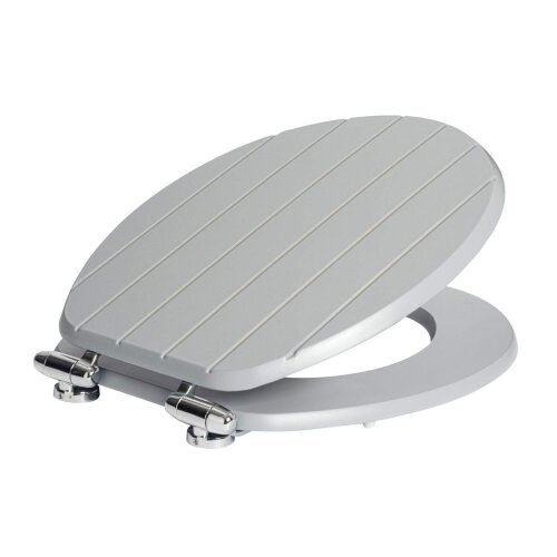 Harbour Housewares Grey Soft Close Grooved Wooden Toilet Seat With Chrome Fixings