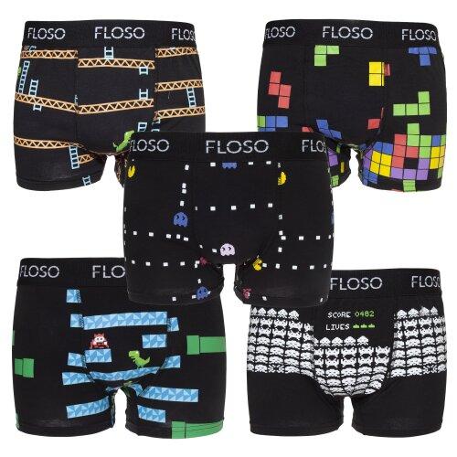 FLOSO Mens Retro Games Boxer Shorts (5 Pairs)