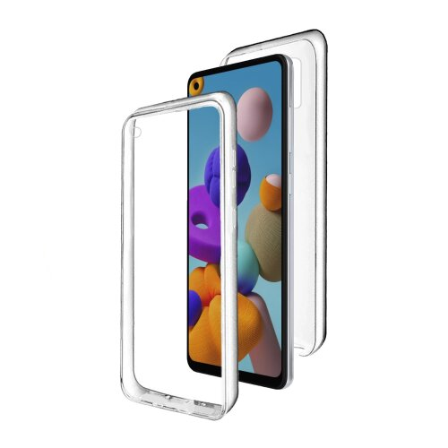 dmobile Full Body 360 Degree Transparent Silicone Cover for Samsung Galaxy A21s | Bumper Covers Clear 360º Case