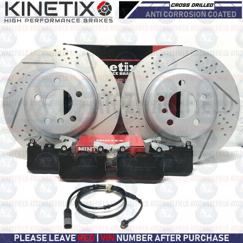 FOR BMW 4 SERIES M SPORT FRONT DIMPLED GROOVED BRAKE DISCS MINTEX PADS SENSOR