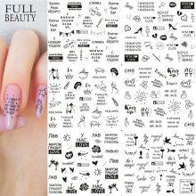 12pcs Love Letter Slider for Nail Art Decorations Sticker, Water Transfer Decal Flower Leaves Girl Manicure