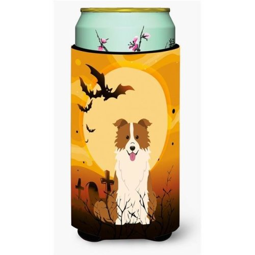 Halloween Border Collie Red & White Tall Boy Beverage Insulator Hugger
