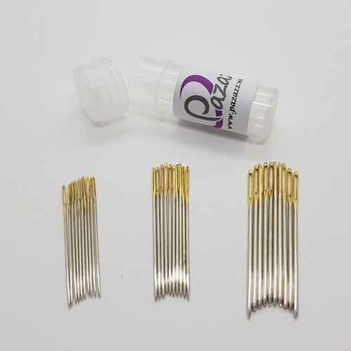 30 x Cross Stitch Needles Embroidery Tapestry Gold Tail Sizes 22, 24, 26.