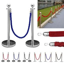 2x Polished Steel Queue Rope Barrier Posts Stands Twisted Rope