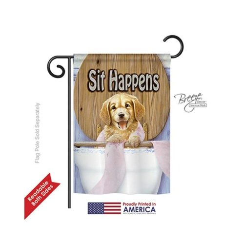 Breeze Decor 60008 Pets Sit Happens 2-Sided Impression Garden Flag - 13 x 18.5 in.