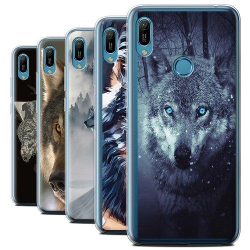 Wild Animal Predator Wolf Huawei Y6 2019 w/FP Scanner Phone Case Transparent Clear Ultra Soft Flexi Silicone Gel/TPU Bumper Cover