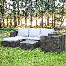 5PCS Modular Corner Garden Rattan Sofa Set