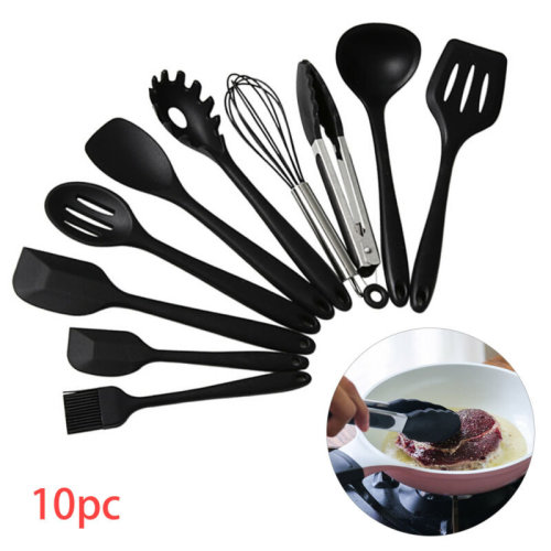 10PcsSilicone Cooking Utensils Sets Non-sticks Spatula Turner Tools UK