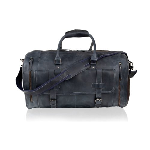 """Woodland Leather Sky Blue Holdall 20.0"""" Front Patch Pockets Twin Handles Adjustable Removeable Shoulder Strap"""