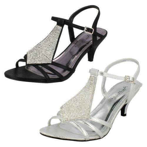 Ladies Anne Michelle Mid Kitten Heel Diamante Sandals
