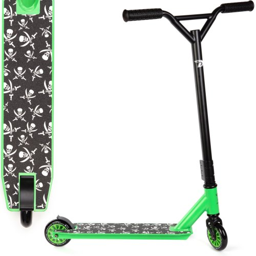 Land Surfer Stunt Scooter Black with Green trim and Small Skulls