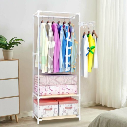 Clothes Rail Bedroom Open Wardrobe Stand Storage Rack Shoe Shelves On Onbuy