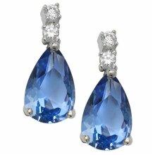 Sapphire Tear Drop Earrings Sterling Silver Rhodium British Made 925 Hallmark