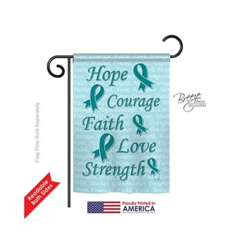 Breeze Decor 65092 Hope, Faith, Courage 2-Sided Impression Garden Flag, Teal - 13 x 18.5 in.