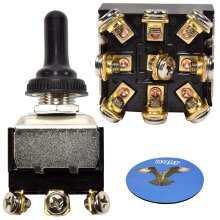HQRP 9-Pin Toggle Switch for HY29K Steampunk Applications, Lamp, Trailer Restorations, DIY Projects + HQRP Coaster